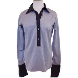 Holt Renfrew Micro Herringbone Cotton Shirt- Sz. 8